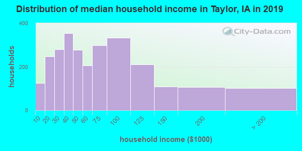 Taylor County household income distribution in 2009