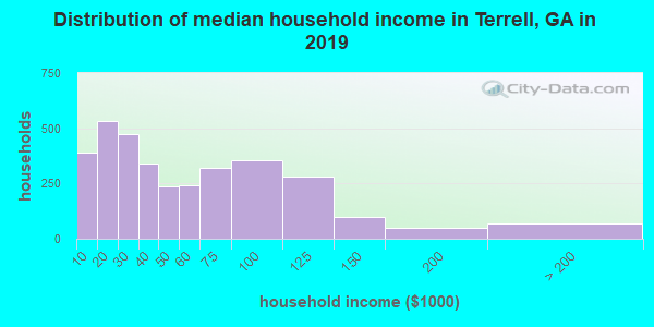 Terrell County household income distribution in 2009