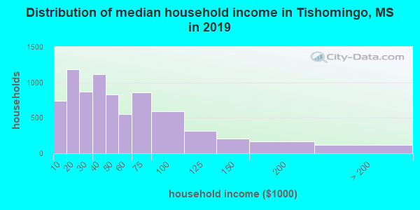 Tishomingo County household income distribution in 2009
