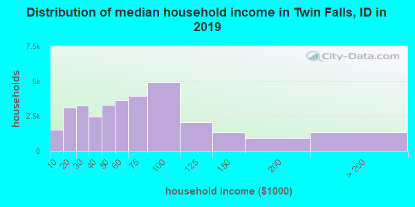 Twin Falls County household income distribution in 2009