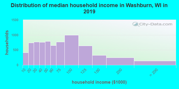 Washburn County household income distribution in 2009