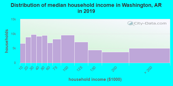 Washington County household income distribution in 2009
