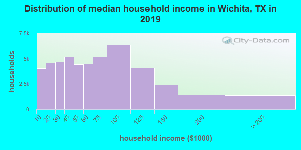 Wichita County household income distribution in 2009