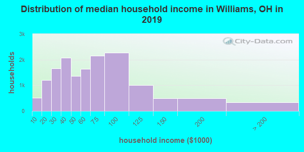 Williams County household income distribution in 2009
