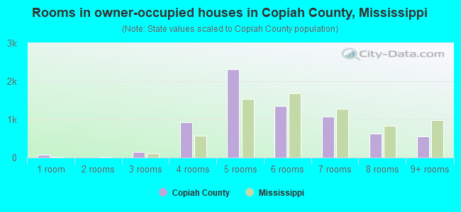 Rooms in owner-occupied houses in Copiah County, Mississippi