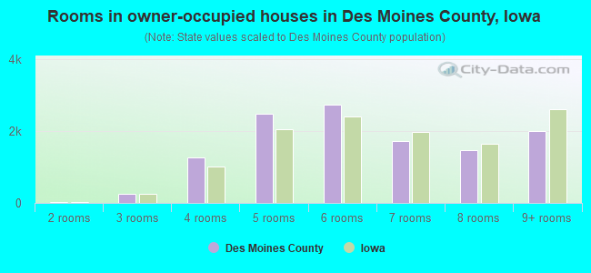 Rooms in owner-occupied houses in Des Moines County, Iowa