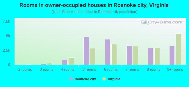 Rooms in owner-occupied houses in Roanoke city, Virginia