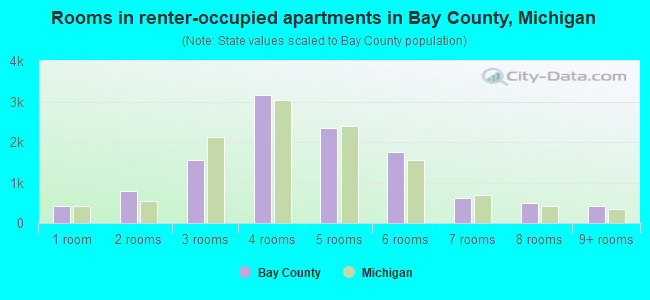 Rooms in renter-occupied apartments in Bay County, Michigan