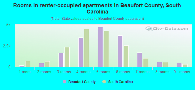 Rooms in renter-occupied apartments in Beaufort County, South Carolina