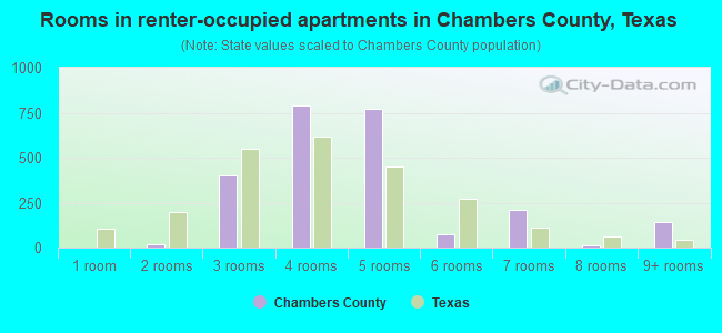 Rooms in renter-occupied apartments in Chambers County, Texas