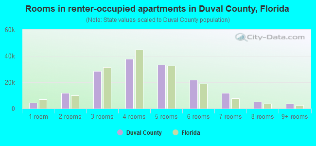 Rooms in renter-occupied apartments in Duval County, Florida