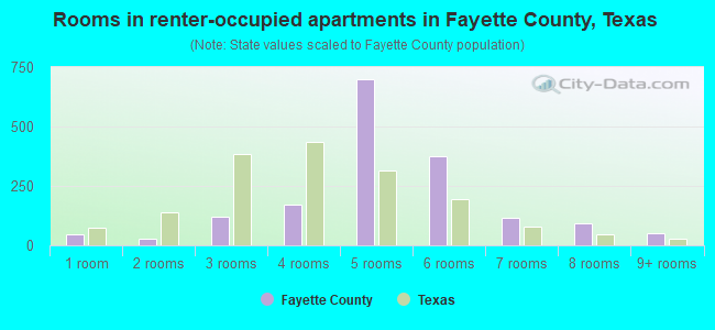 Rooms in renter-occupied apartments in Fayette County, Texas