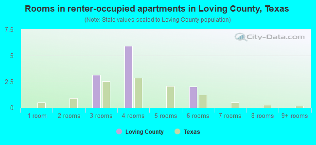 Rooms in renter-occupied apartments in Loving County, Texas