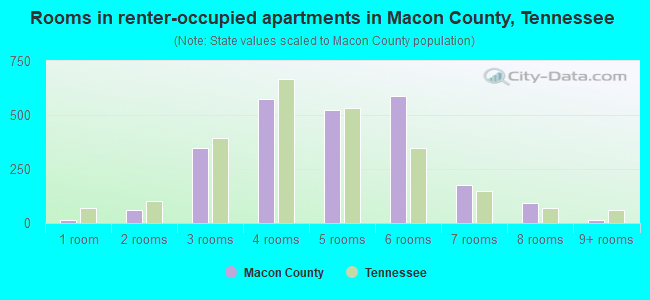 Rooms in renter-occupied apartments in Macon County, Tennessee