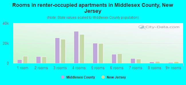 Rooms in renter-occupied apartments in Middlesex County, New Jersey