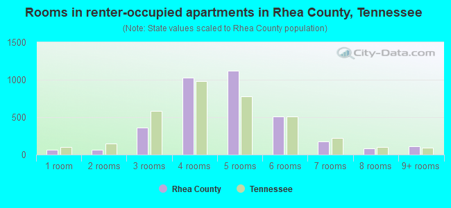 Rooms in renter-occupied apartments in Rhea County, Tennessee
