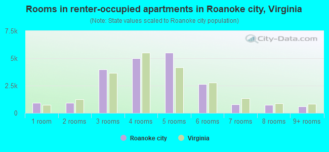 Rooms in renter-occupied apartments in Roanoke city, Virginia