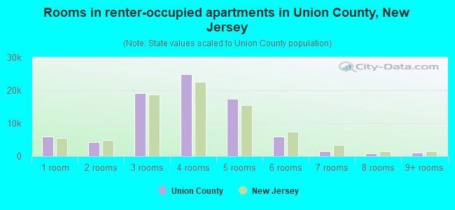 Rooms in renter-occupied apartments in Union County, New Jersey