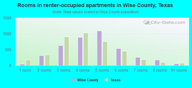 Rooms in renter-occupied apartments in Wise County, Texas