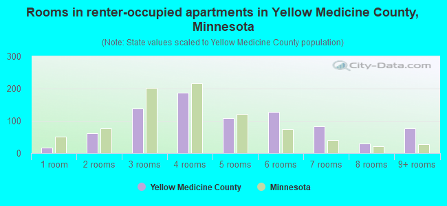 Rooms in renter-occupied apartments in Yellow Medicine County, Minnesota
