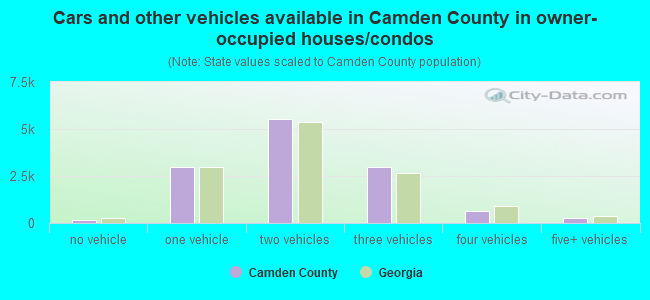 Cars and other vehicles available in Camden County in owner-occupied houses/condos