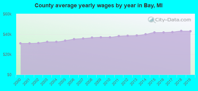 County average yearly wages by year in Bay, MI