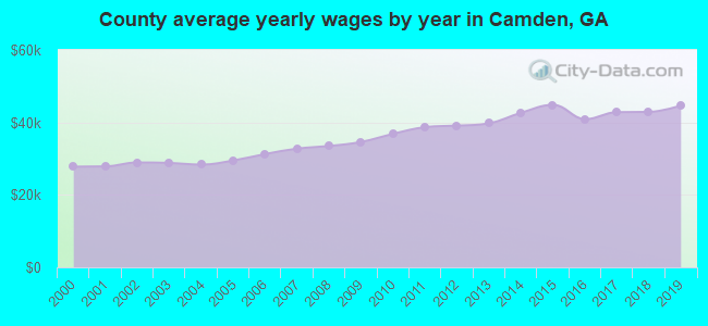 County average yearly wages by year in Camden, GA