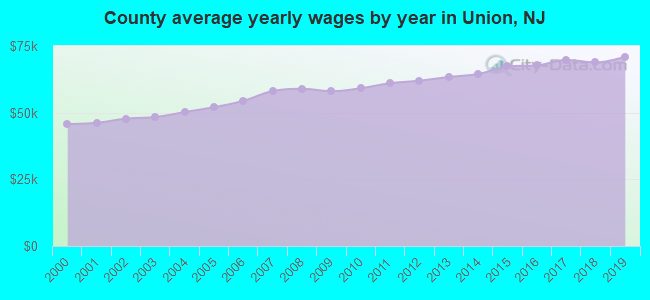 County average yearly wages by year in Union, NJ