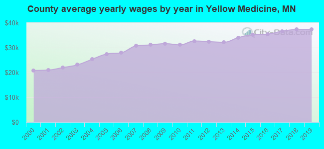 County average yearly wages by year in Yellow Medicine, MN
