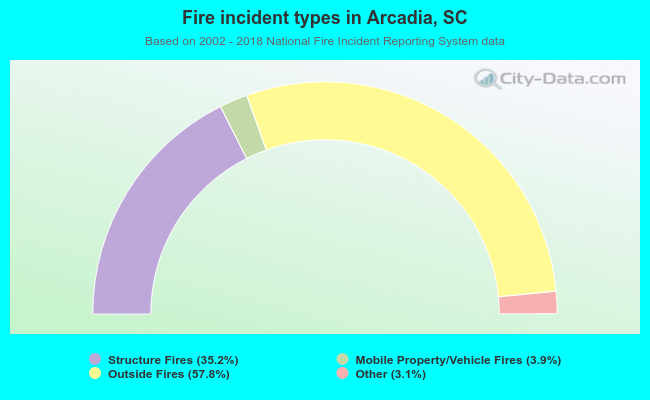 Fire incident types in Arcadia, SC