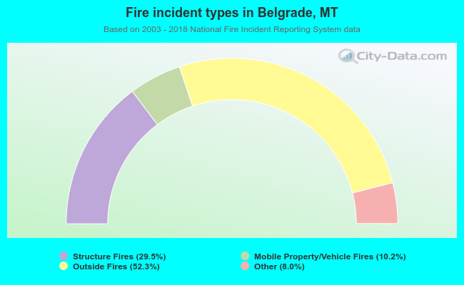 Fire incident types in Belgrade, MT