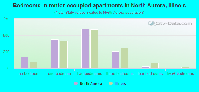 Bedrooms in renter-occupied apartments in North Aurora, Illinois