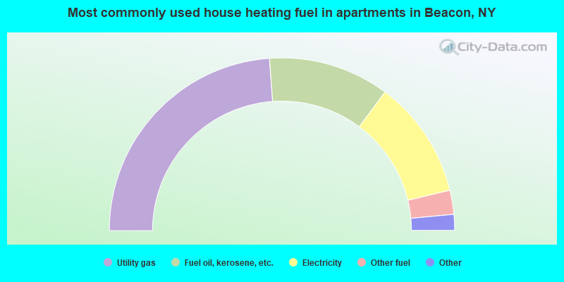 Most commonly used house heating fuel in apartments in Beacon, NY