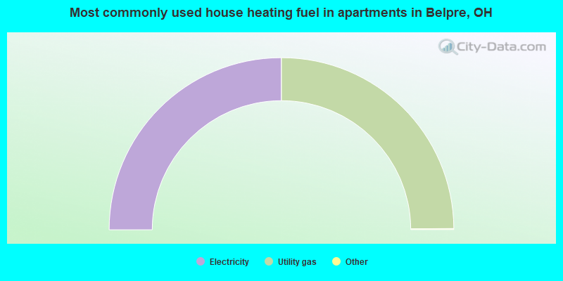 Most commonly used house heating fuel in apartments in Belpre, OH
