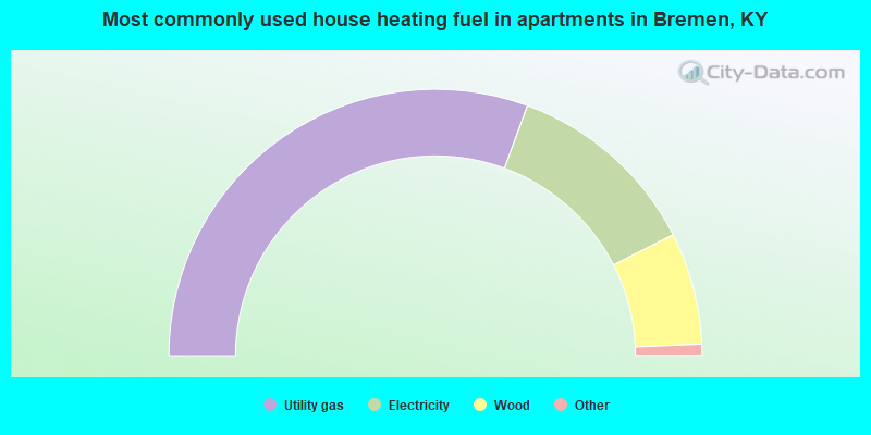 Most commonly used house heating fuel in apartments in Bremen, KY