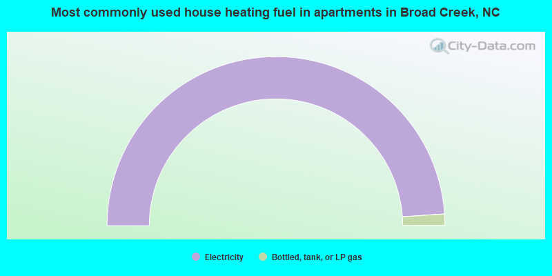 Most commonly used house heating fuel in apartments in Broad Creek, NC