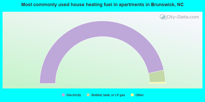 Most commonly used house heating fuel in apartments in Brunswick, NC