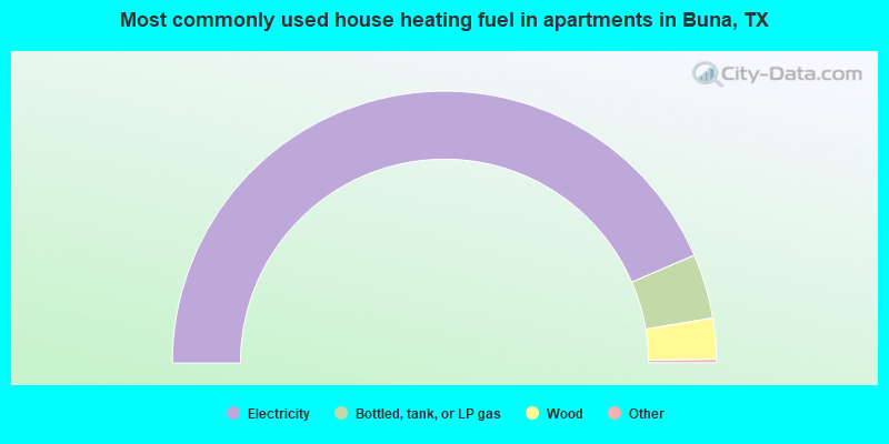 Most commonly used house heating fuel in apartments in Buna, TX