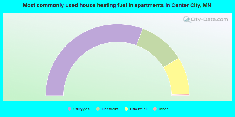 Most commonly used house heating fuel in apartments in Center City, MN