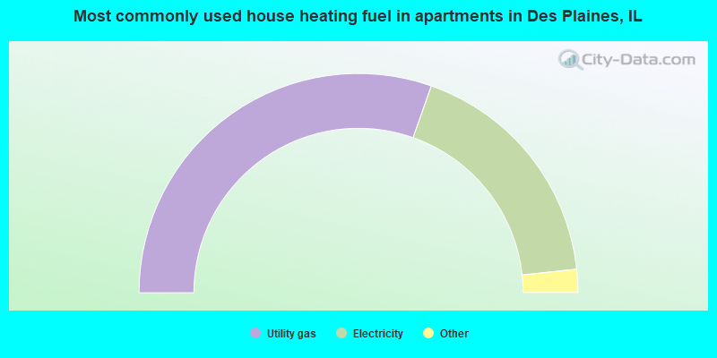 Most commonly used house heating fuel in apartments in Des Plaines, IL