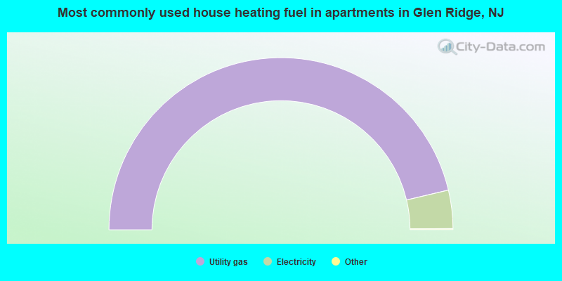 Most commonly used house heating fuel in apartments in Glen Ridge, NJ