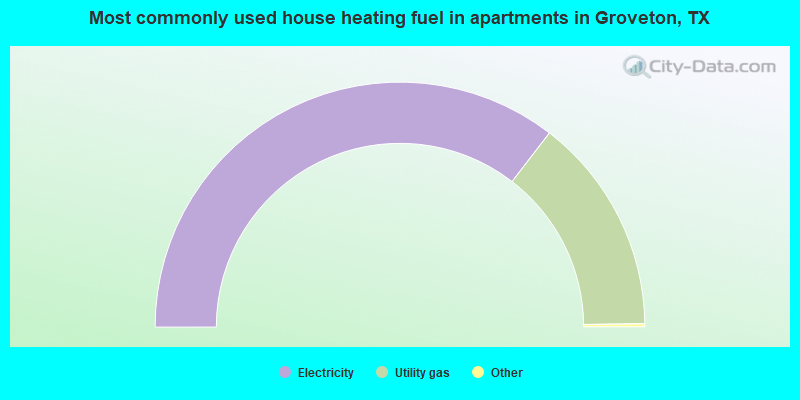 Most commonly used house heating fuel in apartments in Groveton, TX