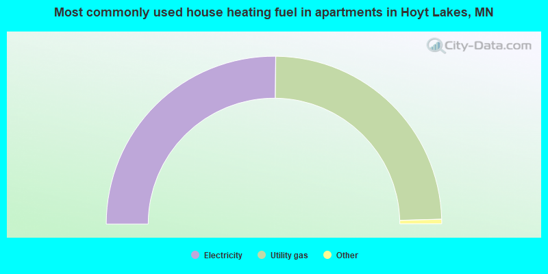 Most commonly used house heating fuel in apartments in Hoyt Lakes, MN
