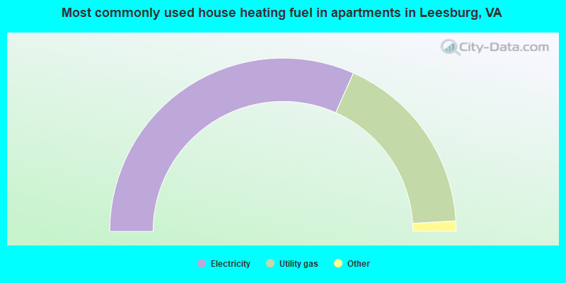 Most commonly used house heating fuel in apartments in Leesburg, VA