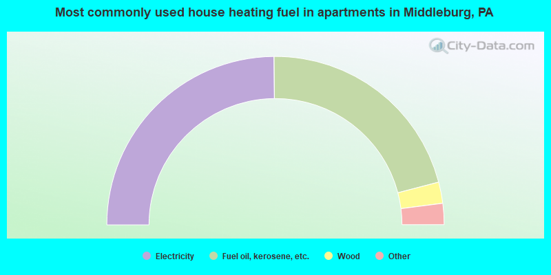 Most commonly used house heating fuel in apartments in Middleburg, PA