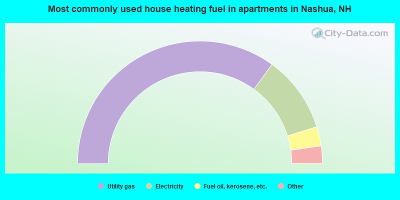 Most commonly used house heating fuel in apartments in Nashua, NH