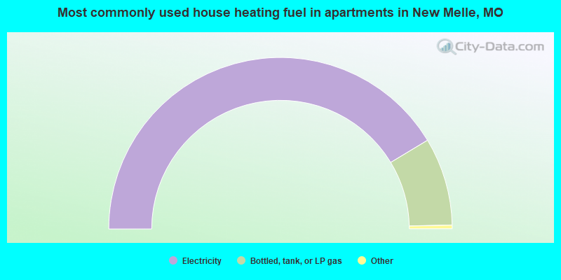 Most commonly used house heating fuel in apartments in New Melle, MO