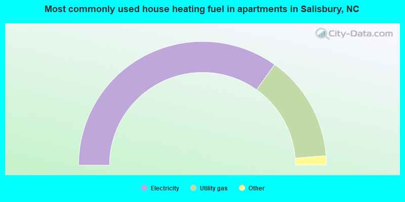 Most commonly used house heating fuel in apartments in Salisbury, NC