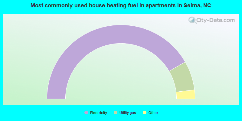 Most commonly used house heating fuel in apartments in Selma, NC
