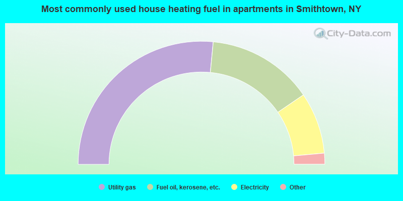 Most commonly used house heating fuel in apartments in Smithtown, NY